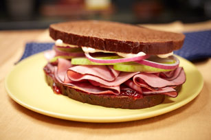 MIRACLE WHIP Ham on Dark Rye