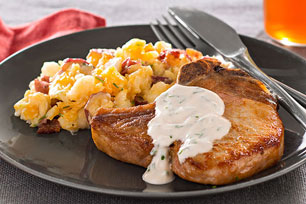 Pork Chops with Fully Loaded Smashed Potatoes
