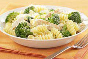 15 Minute Parmesan Pasta with Chicken & Broccoli