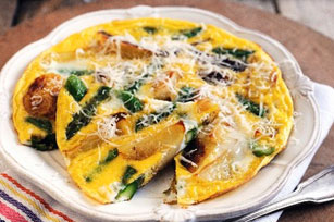 Potato, Onion and Asparagus Frittata