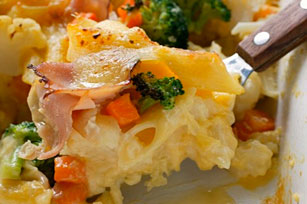 Creamy Pasta Primavera with Ham