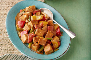 Tofu Stir-Fry in Spicy Peanut Sauce