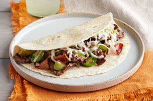 Steak, Bacon and Veggie Tacos