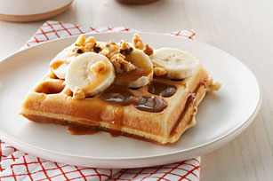 Waffles with Caramel-Nut Sauce