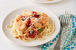 Spaghetti with Shrimp and Roasted Tomato-Basil Sauce Image 1
