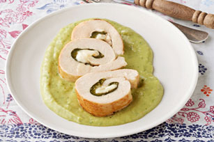 Poblano-Stuffed Chicken with Avocado Sauce