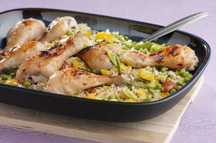 Honey-Glazed Chicken over Rice