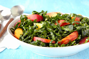 Simple Kale and Peach Salad Image 1