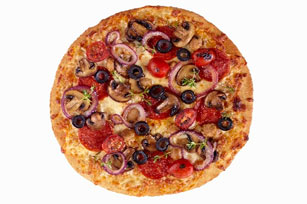 Pizza with Pepperoni and Veggies Image 1