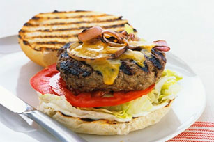 Hamburgers with Grilled Red Onions