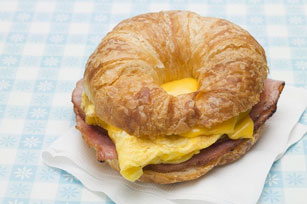 Cheesy Bacon & Egg Croissant Sandwich Image 1