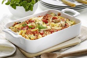 Casserole de pâtes au poulet, aux tomates et aux épinards  Image 1