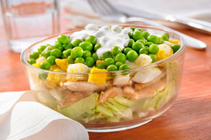 Layered Egg, Chicken and Pea Salad Image 1