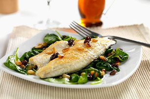 Bass Fillets with Spinach, Raisins and Pine Nuts Image 1