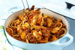 Spaghettis à la saucisse et aux champignons Image 1