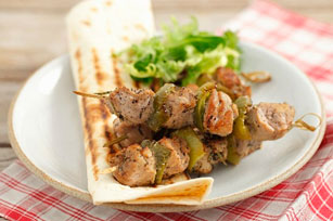 Pork and Pepper Kabobs with Grilled Tortillas