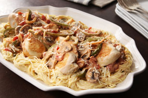 Chicken Cacciatore with Creamy Angel Hair Pasta