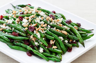 Green Beans with Walnuts, Cranberries and Feta