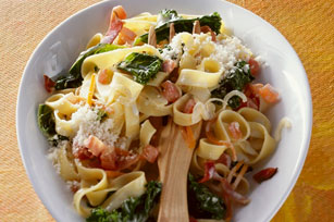 Pasta with Kale, Ham and Parmesan