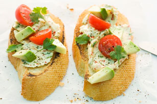 Avocado, Tomato and Cheese Crostini