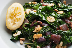 Kale with Caramelized Onions and Pine Nuts Image 1