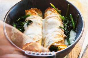 Spinach & Cheese Baked Crêpes