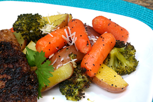 Roasted Red Potatoes with Broccoli, Carrots and Parmesan Image 1