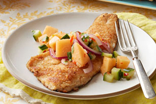 Pan-Seared Trout with Spicy Cucumber-Melon Salsa Image 1