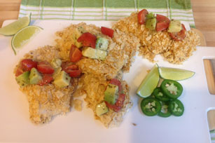 "Baked Fish ""Tacos"" with Salsa Image 1"