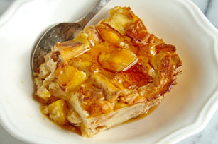 Creamy Banana & Peach Matzo Brie Bake