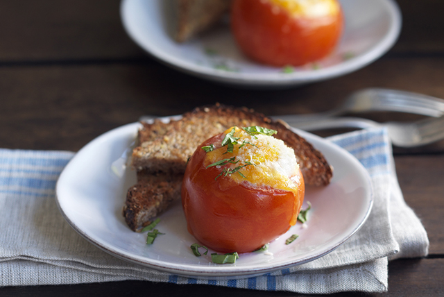 Cheesy Baked Eggs in Tomato Cups for Two Image 1