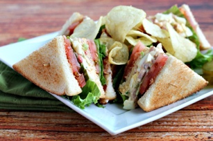 Ham and Egg Salad Club Sandwich Image 1
