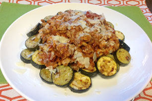 "Zucchini-""Penne"" Bolognese with Sun-Dried Tomatoes"