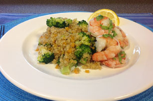 Vegetable-Quinoa Pilaf with Poached Shrimp Image 1