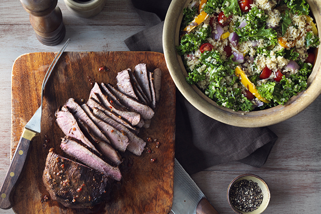 Tuscan Grilled Steak with Kale, Quinoa and Peppers Image 1