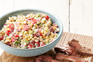 Steak and Spicy Grilled Corn Salad