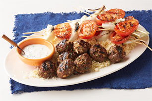Beef and Grilled Vegetable Kabobs with Couscous Image 1