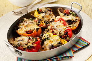 Sausage, Spinach and Cheese Stuffed Peppers