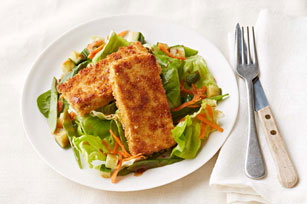 Panko-Crusted Tofu with Salad