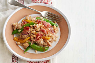 Chicken Fried Rice with Bacon, Mango and Sugar Snap Peas