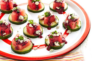 Watermelon Appetizers with Blueberry Dressing Image 1