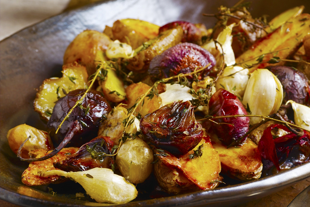 Roasted Potatoes and Beets with Garlic and Thyme Image 1