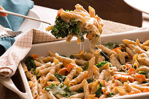 Spicy Sweet Potato and Kale Pasta Bake