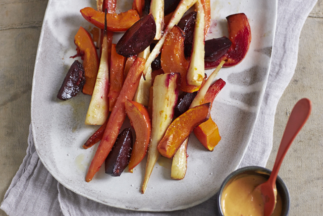 Roasted Vegetables with Creamy Sriracha Dip Image 1