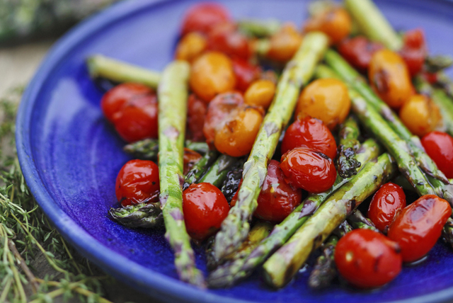 Grilled Balsamic Tomatoes and Asparagus Image 1