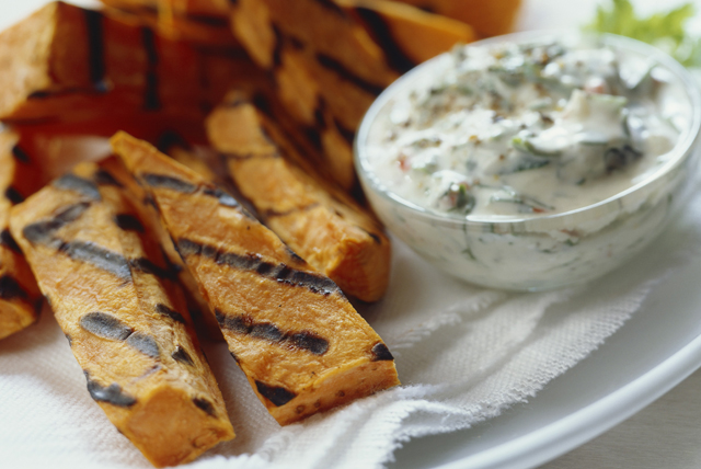 Grilled Sweet Potato Sticks with Creamy-Ranch Dip Image 1