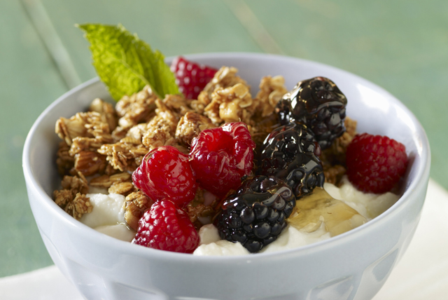 Peanut Butter Granola and Mixed Berry Bowl Image 1