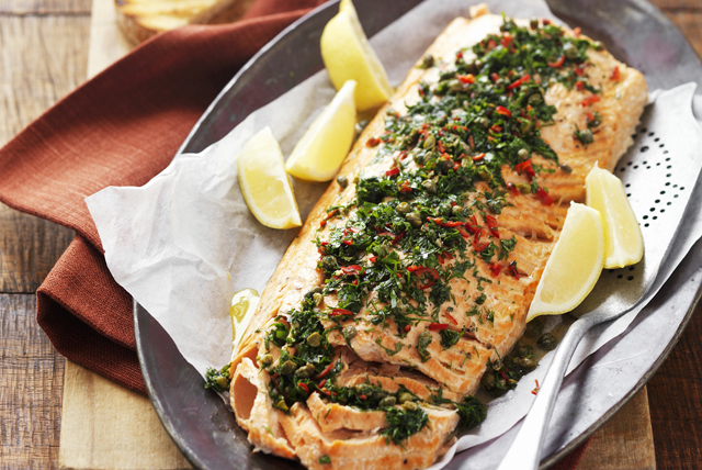 Baked Salmon with Herbs & Crushed Red Pepper Image 1