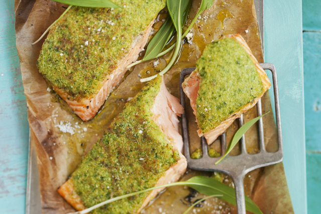 Baked Salmon with Herb Crust Image 1