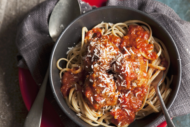 Spaghettis aux boulettes de pois chiches